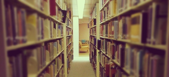 Photo of a library hallway